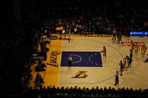 The Lakers play a game at their home arena, The Staples Center