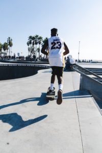 A fan dons Lebron's number, 23, while cruising the streets of LA